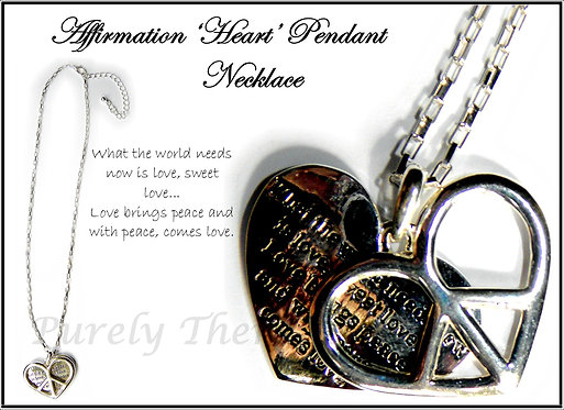 Affirmation Poetry Pendant Necklace~Heart Symbol