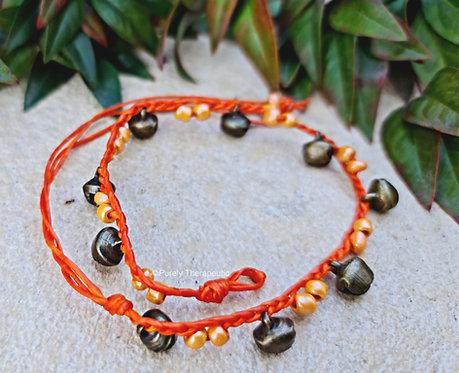 Orange Beaded and bells anklet