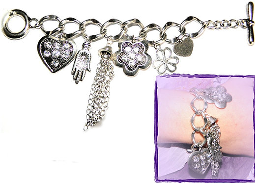 Hamsa diamante flower tassel charm bracelet