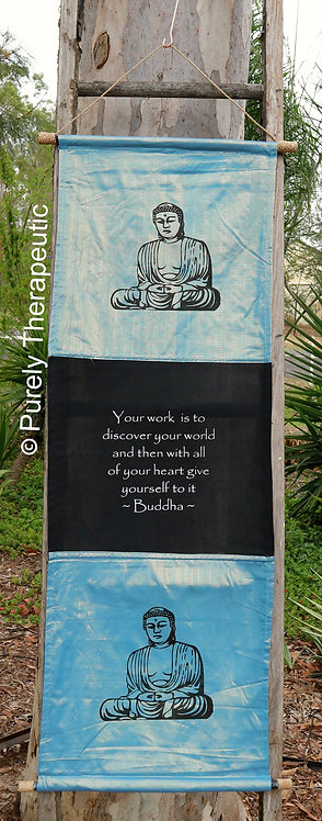 Light Blue Pearl Buddha Flag Wall Scroll Inspirational Quote