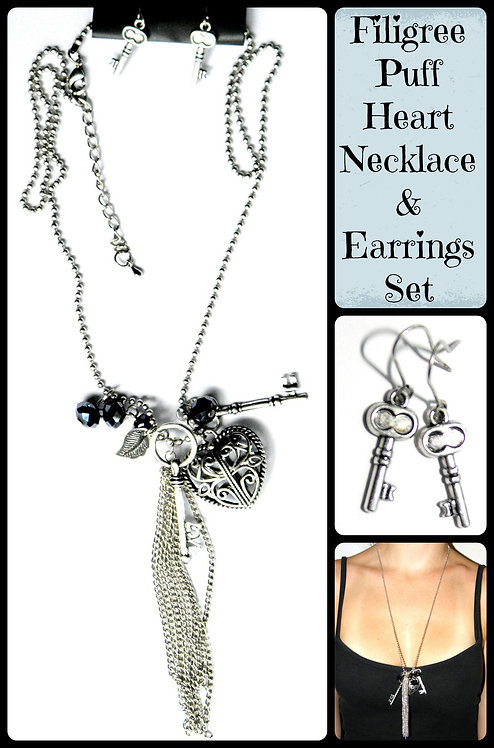 Filigree Heart Love Charms Necklace & Earrings Set