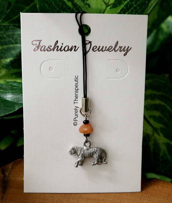 Tiger Mobile Phone Charm Carnelian