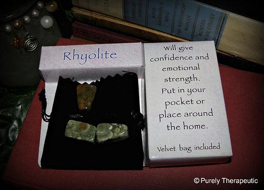 Rhyolite Gemstone Crystal Gift Pack & Velvet Pouch