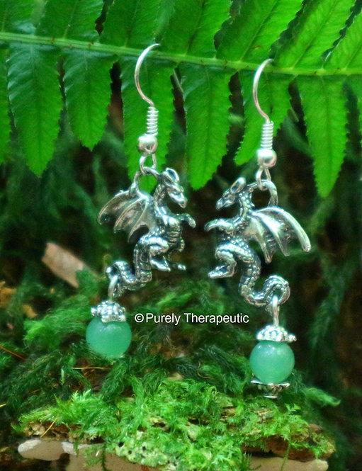 Dragon Earrings with Aventurine Gemstone