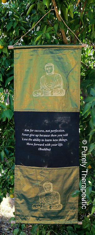 Buddha Inspirational Quote Wall Scroll Flag~135cm Color - Green Shimmer (S)