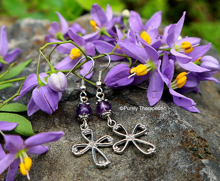 Amethyst Cross Crystal Earrings