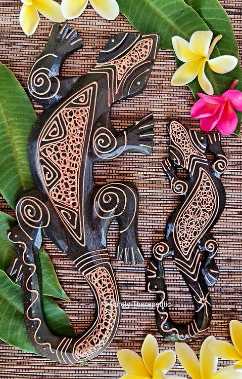 Dark Brown Wooden Balinese Set of 2 Geckos