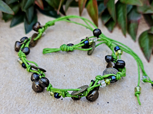 Green Beads, bells and feng shui coins anklet