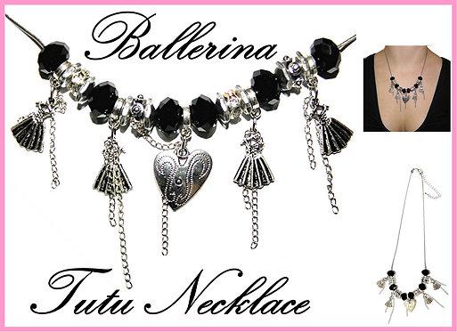 Ballerina Ballet Tutu Charms Diamante Necklace