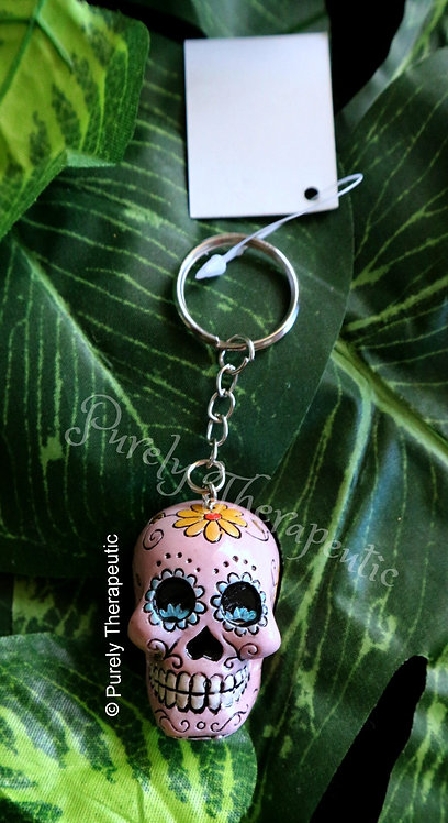 Candy Skull Pink Key Ring