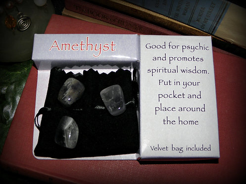 Three Amethyst Gemstones gift pack
