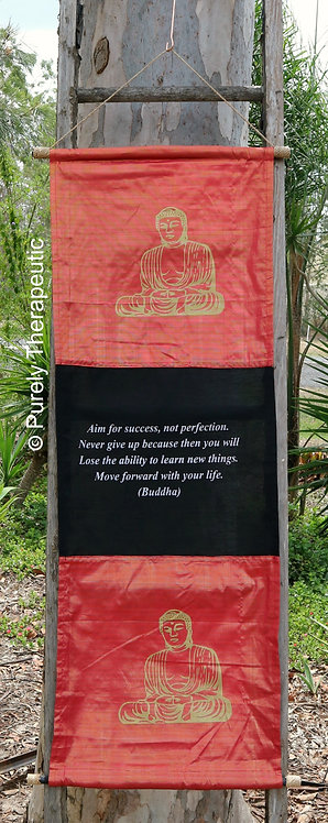 Wall Scroll Flag Inspirational Quote Buddha Red