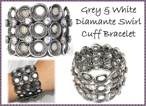 Grey & White Diamante Swirl Cuff