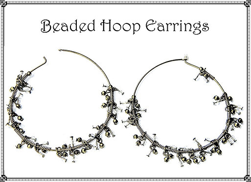 Antique Gold Hoop Beaded Earrings