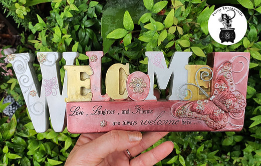 welcome inspirational word plaque