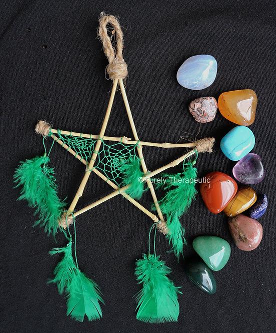 Pentagram_Dream_Catcher_Green_Handmade