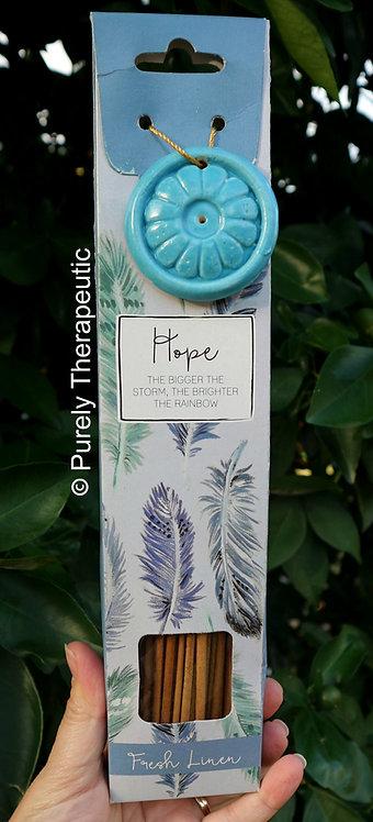 Hope Fresh Linen Incense Sticks and Ceramic Holder