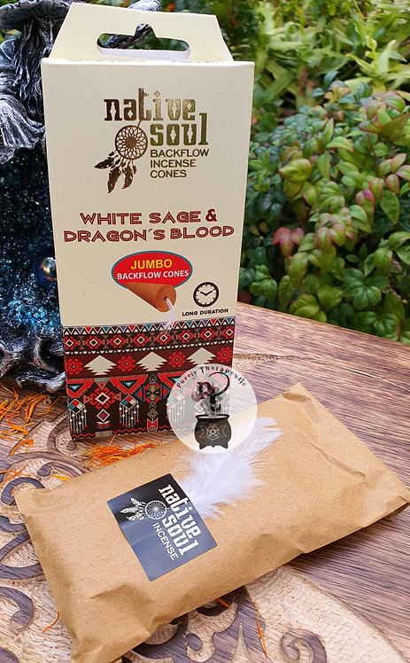 Native Soul White Sage and Dragons Blood Backflow Incense Cones