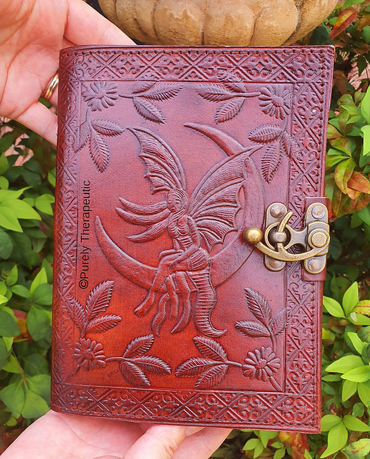 Fairy sitting on crescent moon leather writing journal