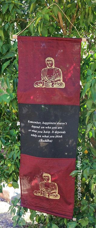 Buddha Inspirational Quote Wall Scroll Flag Burgundy