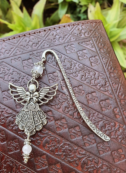 Filigree Angel Rose Quartz Bookmark