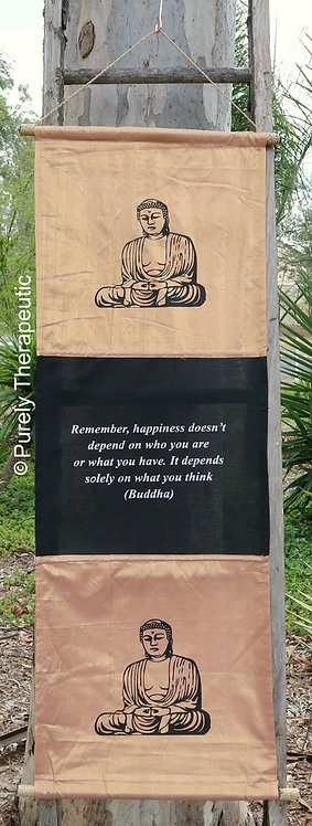 Buddha Flag Wall Scroll Inspirational Quote Salmon Emporers Gold