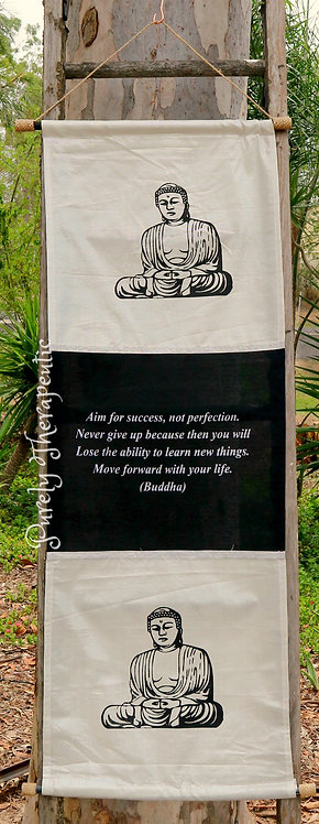 White Buddha Flag Inspirational Quote Wall Scroll