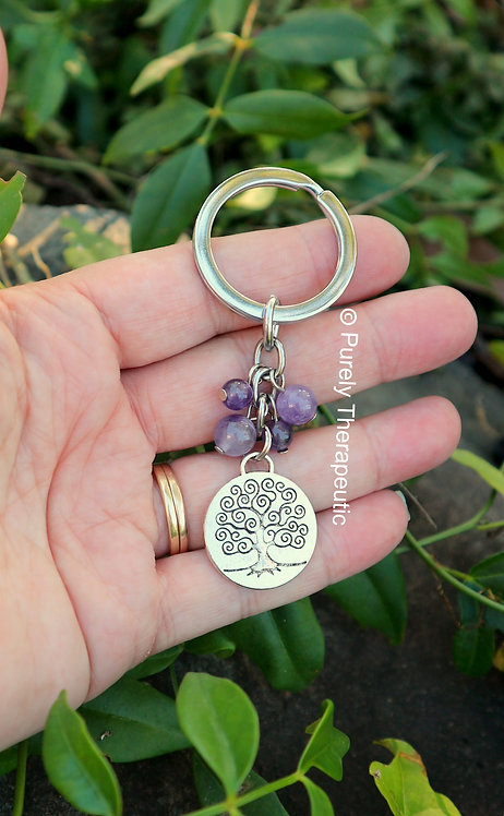 Amethyst Gemstone Crystal Bag Charm