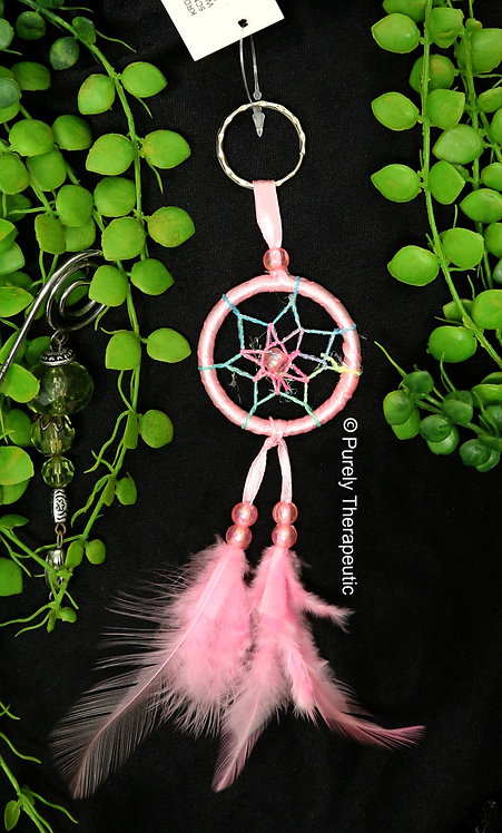 Pink Key Ring Dream Catcher