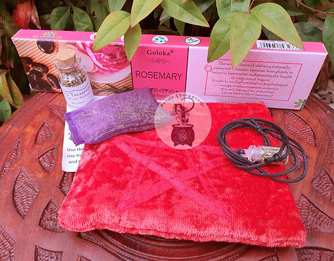 Rosemary Pack with Red Pouch Incense Necklace Spell Bottle