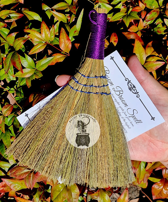 purple besom witch altar broom