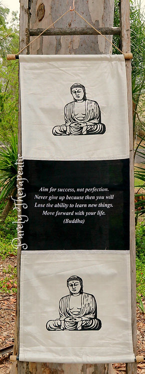 White Buddha Inspirational Quote Flag