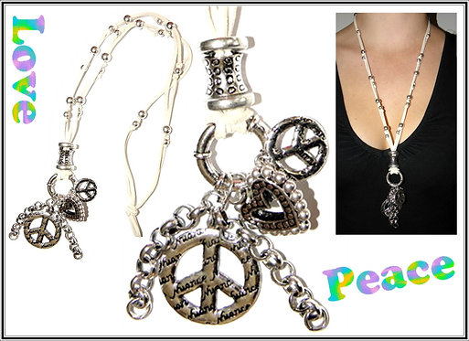 Peace Charms Heart on Suede Necklace