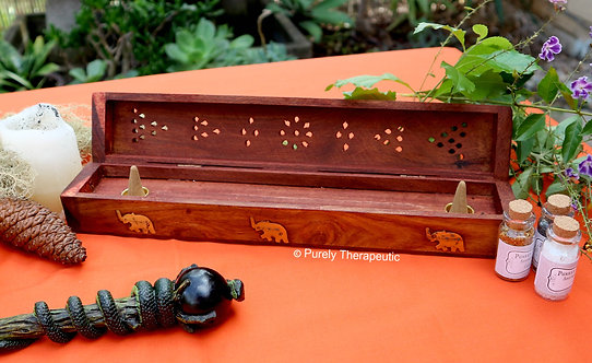 Wooden Incense and Cone Box Burner
