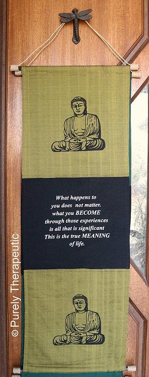 Inspirational Saying Buddha Wall Scroll
