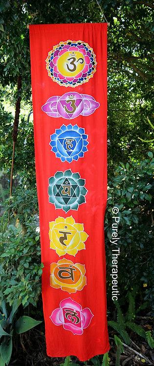 Red Lotus Flower Chakra Wall Scroll Flag