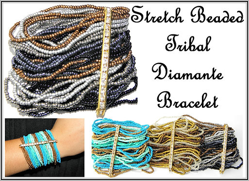 Beaded & Diamante Tribal Bracelet