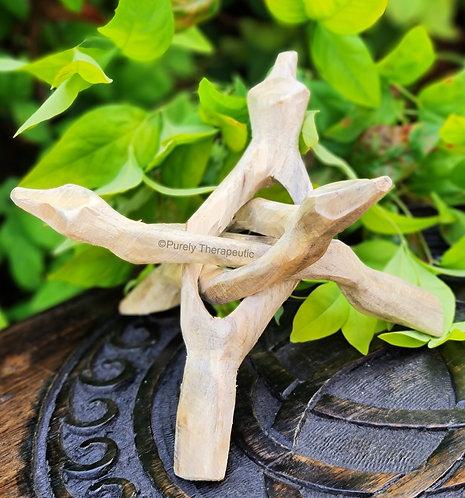 White Wooden Abalone Tripod Stand