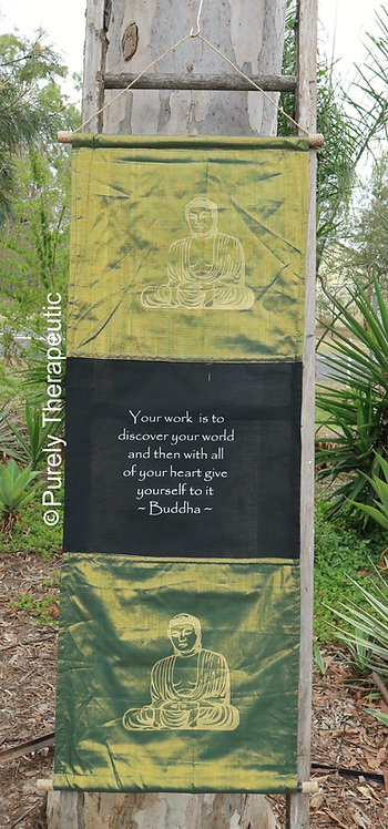 Pearl Green Flag Wall Scroll Buddha