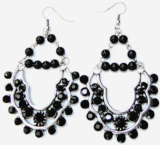 Scalloped black diamante earrings