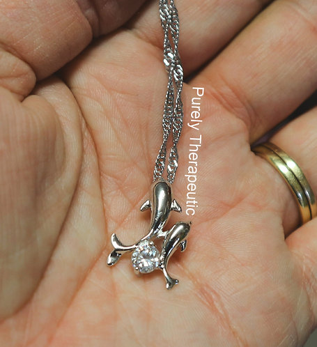 Mother and baby dolphins silver necklace