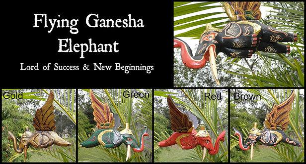 Balinese Hand Carved Flying Ganesha Elephant Mobile