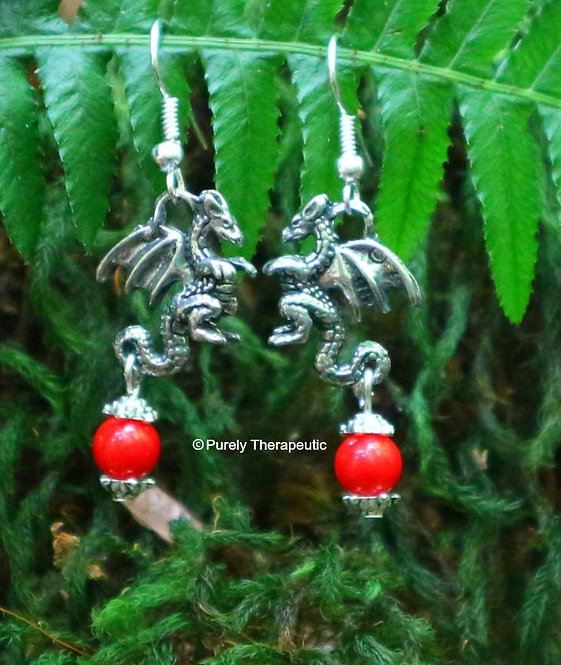 Dragon Earrings with Red Coral Gemstone