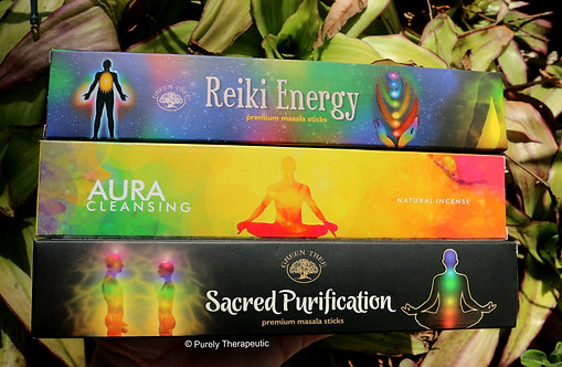 Reiki Energy Aura Cleansing Sacred Purification Green Tree Incense Sticks