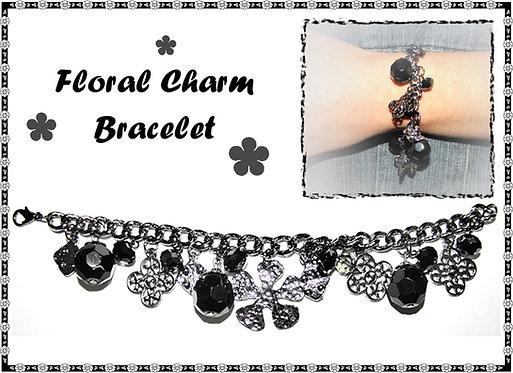 Floral Charm & Bead Bracelet
