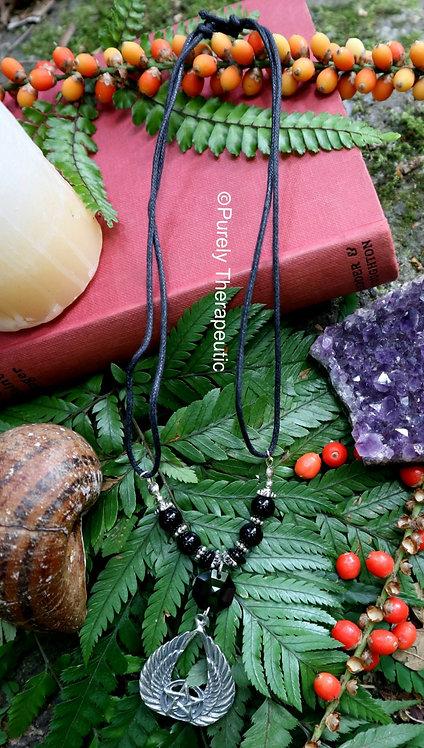 Black Onyx Pentagram Angel Wings Necklace