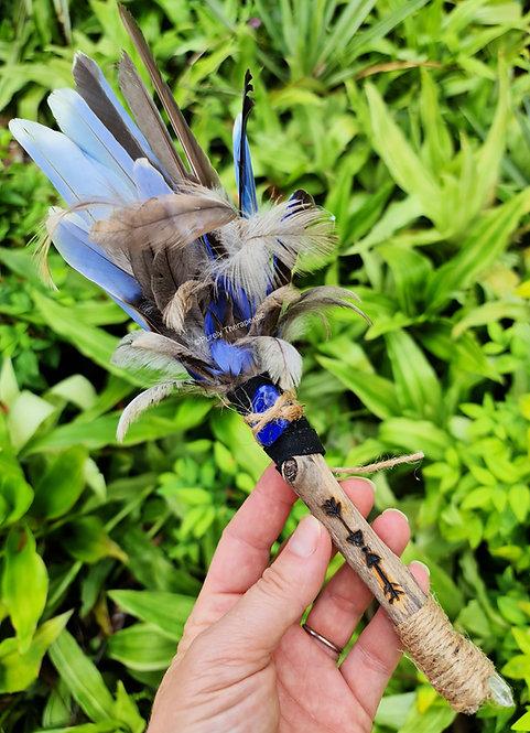 Smudging Feather Fan Lapis Lazuli