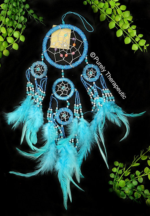 Blue Glass Seed Beaded Dream Catcher
