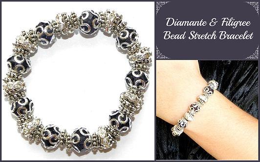 Diamante & Filigree Bead Bracelet