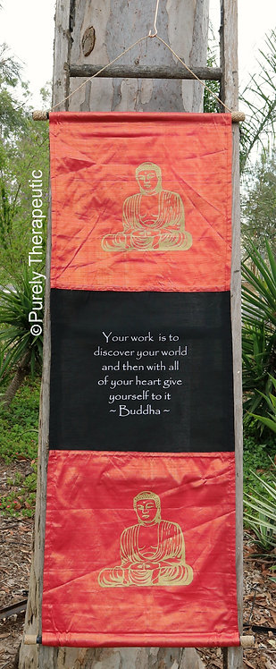 Banner Sign Wall Scroll Flag Inspirational Quote Buddha Red